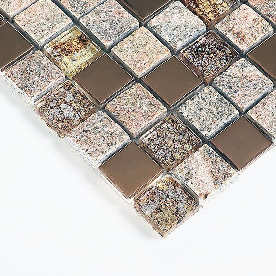 Gray and Rose Gold Kitchen Backsplash, Glass and Stainless Steel
