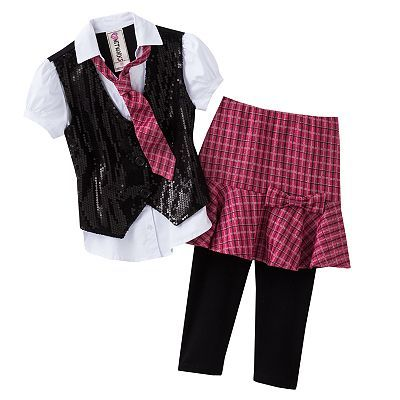 Knitworks Mock-Layer Top and Plaid Skirted Leggings Set - Girls 7-16