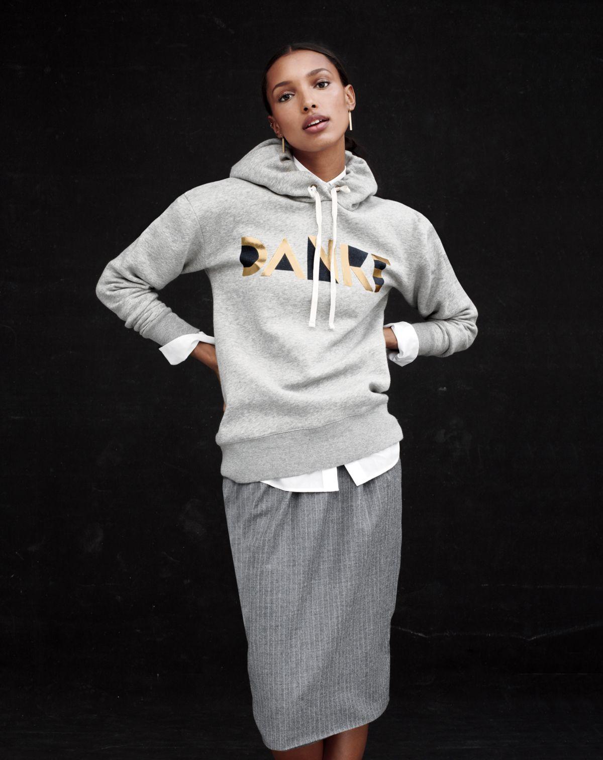 J.Crew women's hooded sweatshirt, pull-on pinstripe skirt,