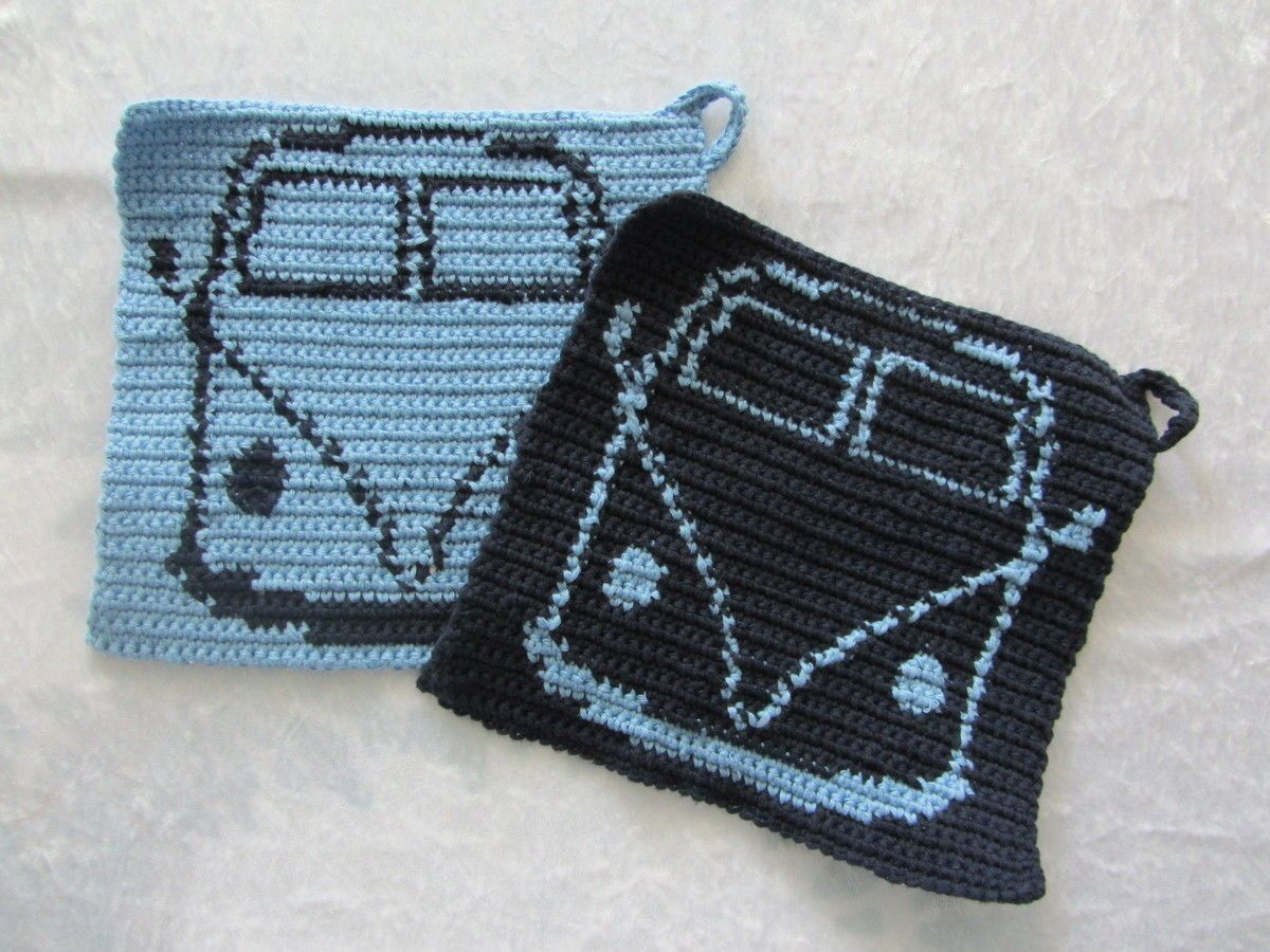 Topflappen Flower Power Bus #crochetpotholderpatterns