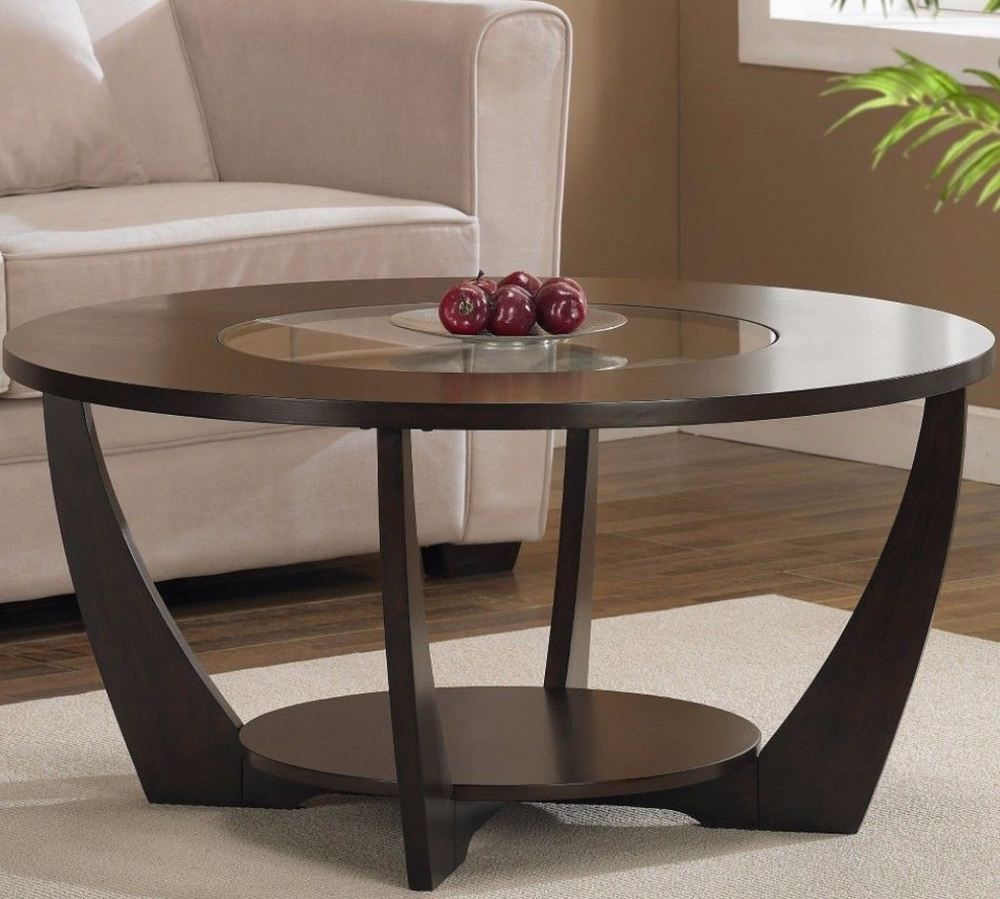 Coffee Table With Storage Shelf Living Room Furniture Espresso Finish Glass Top Table Espresso End Table Espresso Coffee Table Round Coffee Table [ 899 x 1000 Pixel ]