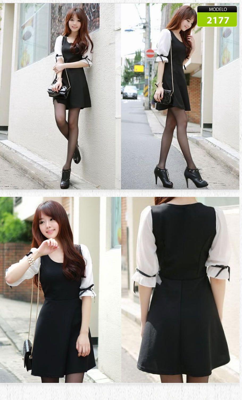 d899e890f5d9 Vestido Corto Moda Asiática Coreana Coqueto Juvenil 2177 - $ 790.00 ...
