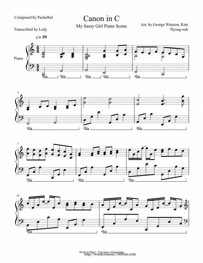 Print And Download In Pdf Or Midi Canon In C This Is The More Or
