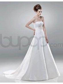 A-line Satin Hand-Beaded  Bodice Strapless Neckline Chapel Length Train Wedding Dresses (2218)