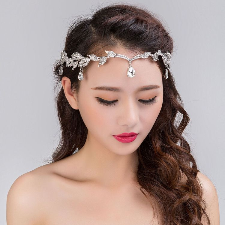 Bridal headpiece boho waterdrop headchain headdress hairchain crystal wedding headpiece headband diamante headpiece wedding headchain