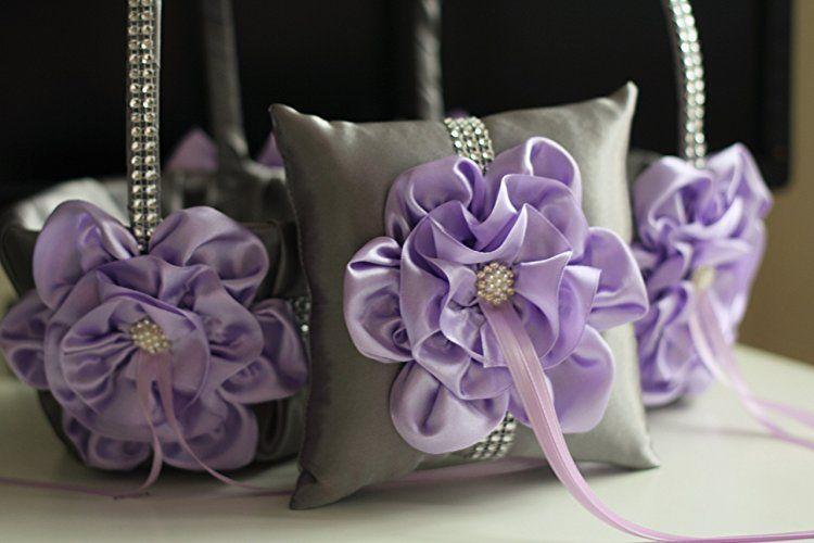 Amazon.com: Lavender Flower Girl Basket \ Lilac Ring bearer Pillow \ Lavender Ring Pillow Basket Set \ Lilac Gray Wedding Basket \ Gray Wedding Pillow: Handmade