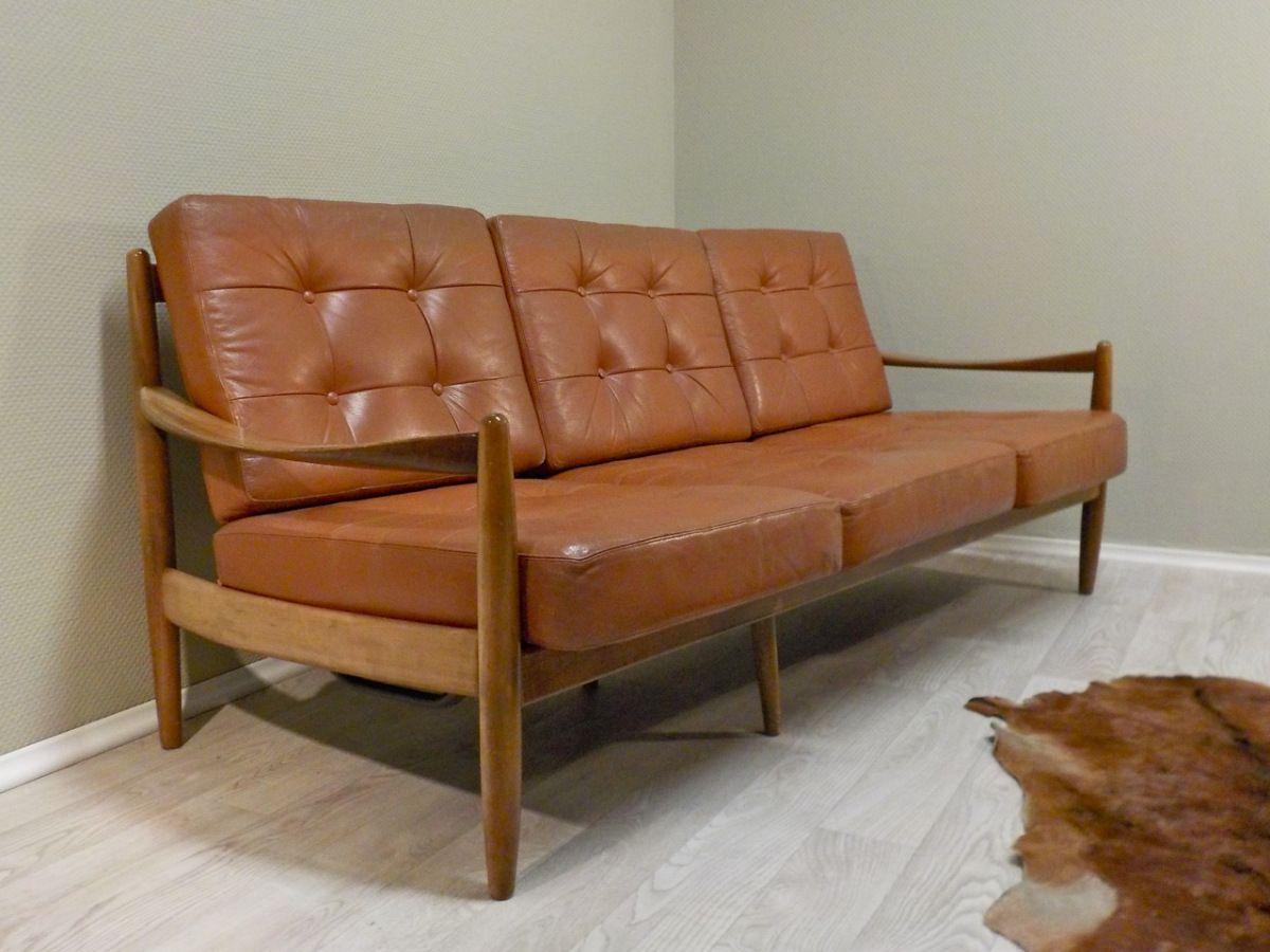 3er Sofa Cognacfarbenes Echtleder Jalk Knoll O Oa 3er Sofa Vintage Sofa Danisches Sofa