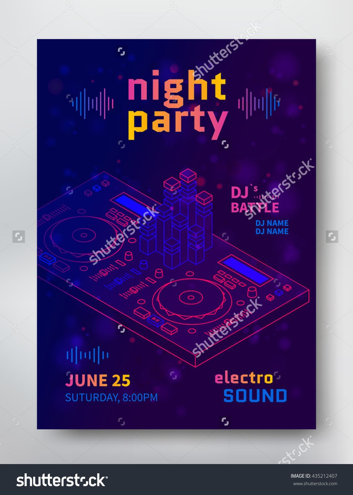 Night Party Poster Template. Electro Sound Flyer With Dj Consol ...