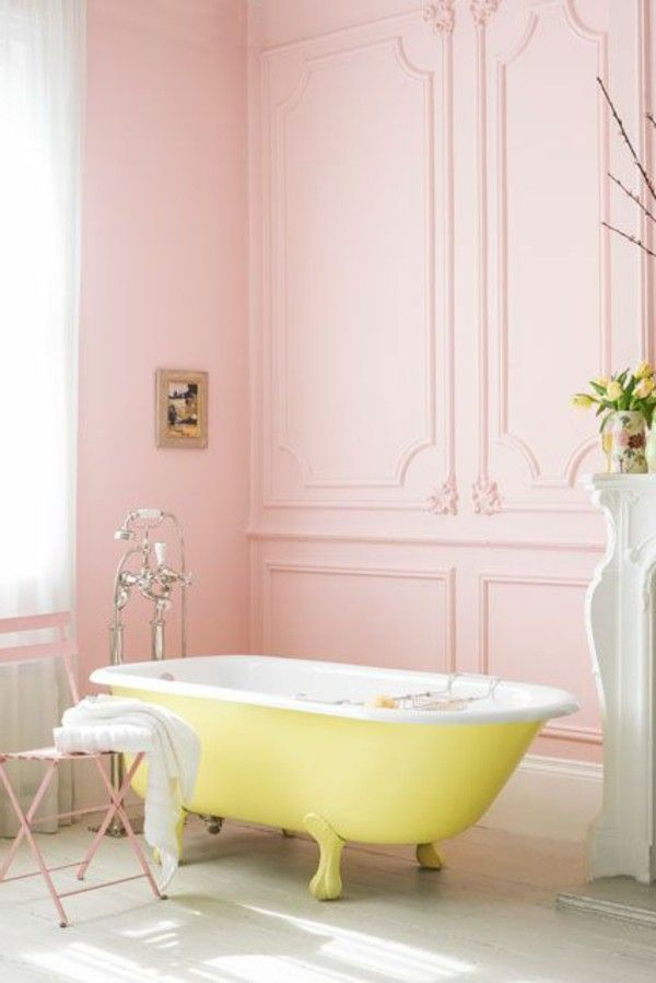 Pink Bathroom With Bright Yellow Tub Pastel Bathroom Beautiful Bathrooms Top Bathroom Design