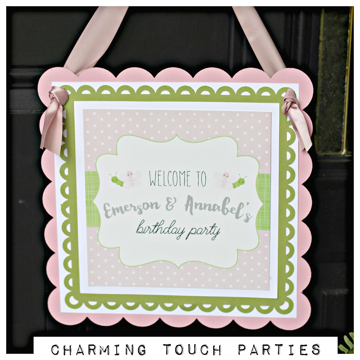 Pink and green butterfly and caterpillar birthday welcome door pink and green butterfly and caterpillar birthday welcome door hanger sign by charming touch parties jeuxipadfo Images