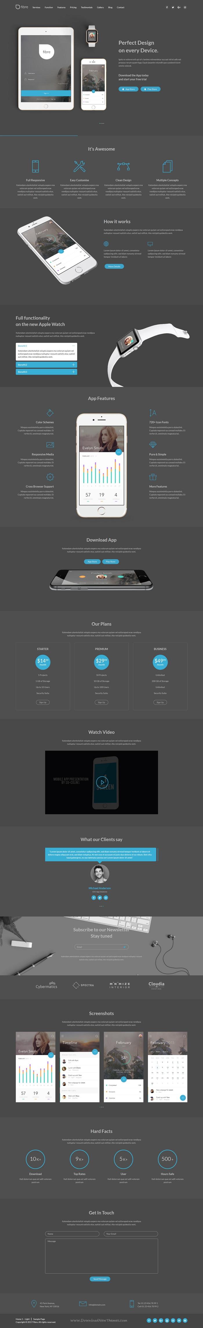 Fibre - App Landing Page WordPress Theme | Wordpress, App and ...