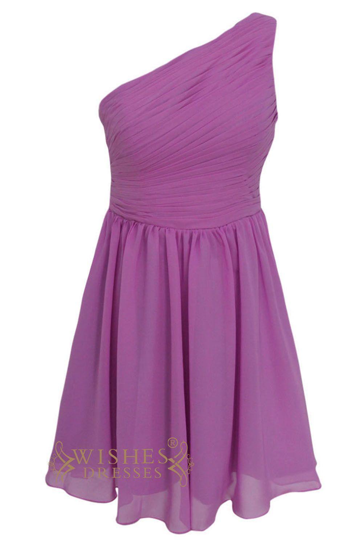 Cheap oneshoulder purple chiffon short prom dresses am short