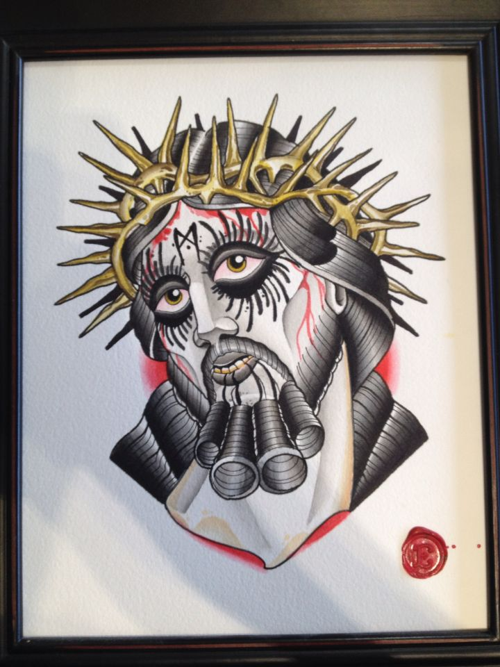 Corpse Paint Christ Tattoo Flash Spit Shade Liquid Acrylic