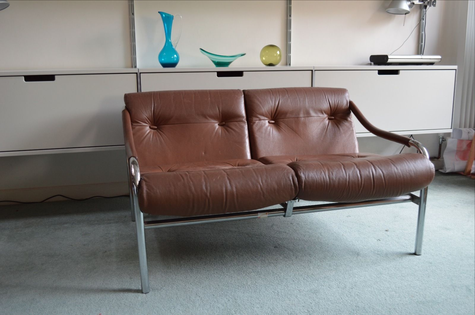 Vintage Retro 70 S Pieff Beta Two Seater Brown Leather And Chrome Sofa Brown Leather Sofa Retro Sofa Vintage Leather Sofa