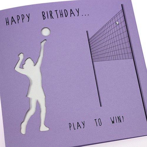 Handmade Birthday Card Female Sports Lavender Netball Crystals Laser Cut - 'Happy Birthday... Play to Win!'