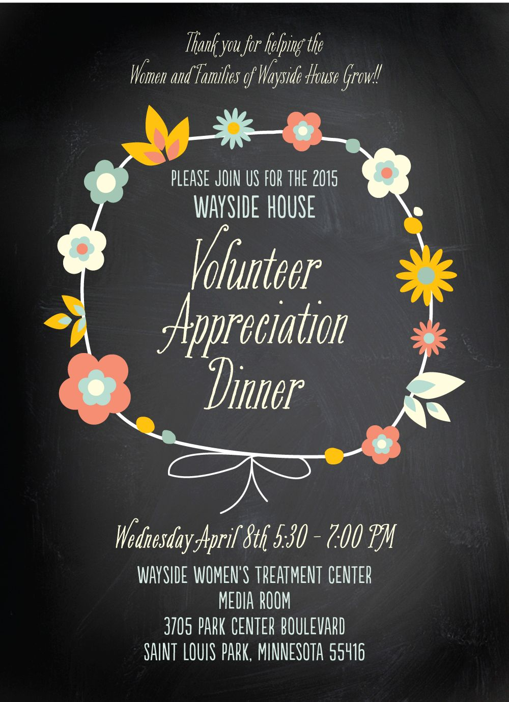 Official Invite 2015 Volunteer Appreciation Dinner Volunteer