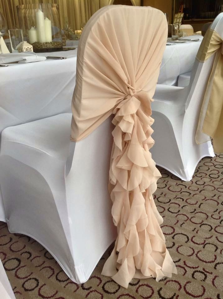 Hooded Ruffle Something Different From Normal Chair Sashes Hire Them From Us Embellish Events Embel Wedding Chair Sashes Chair Cover Hire Chair Covers Wedding