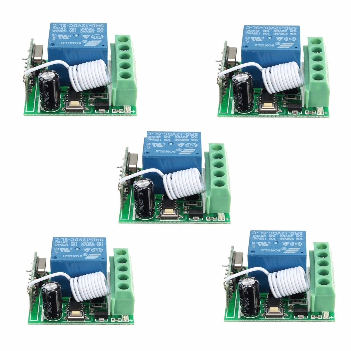 5Pcs DC12V 10A 1CH 433MHz Wireless Relay RF Remote Control