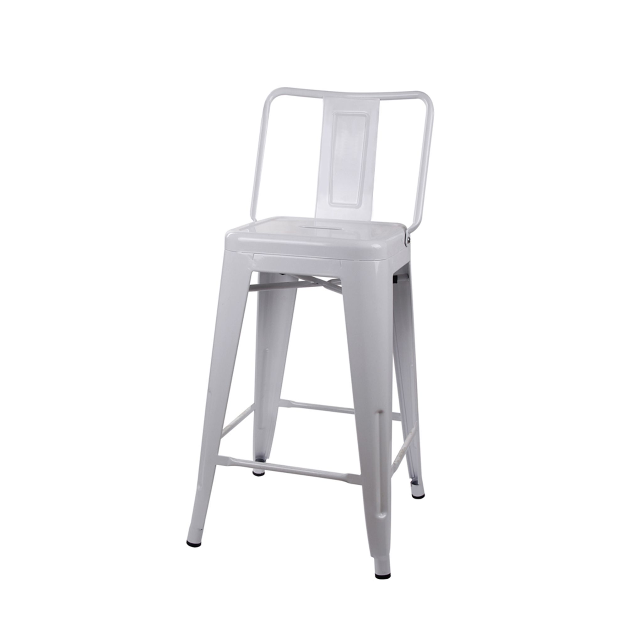 """8"""" High Back Industrial Style White Metal Bar Stool Kitchen Pub"""