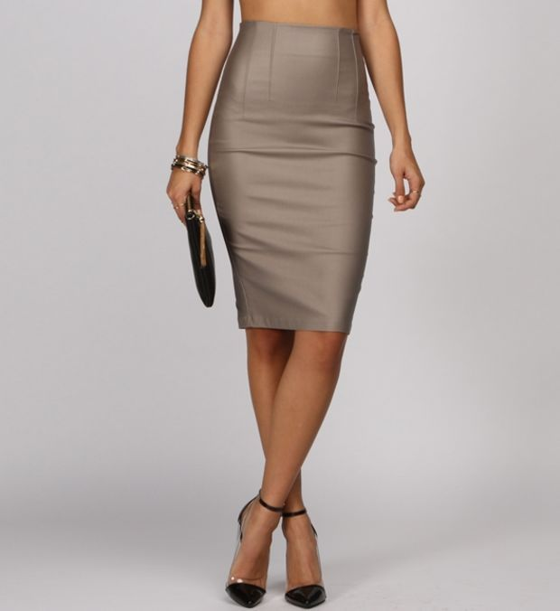 Khaki Coated Pencil Skirt