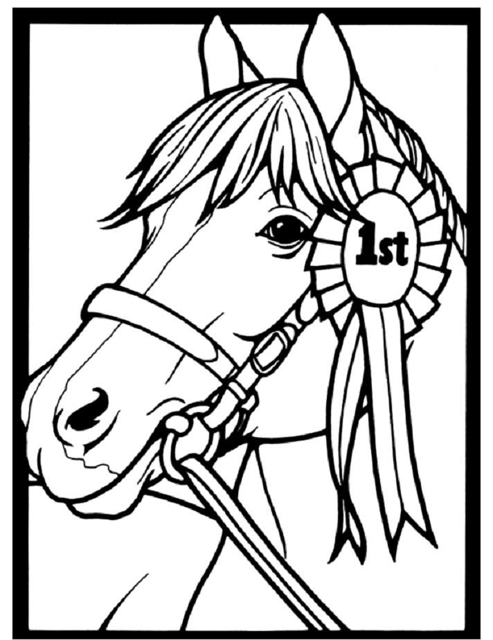 Horse Coloring Page of Show Pony Proudly Wearing Blue Ribbon  Arc