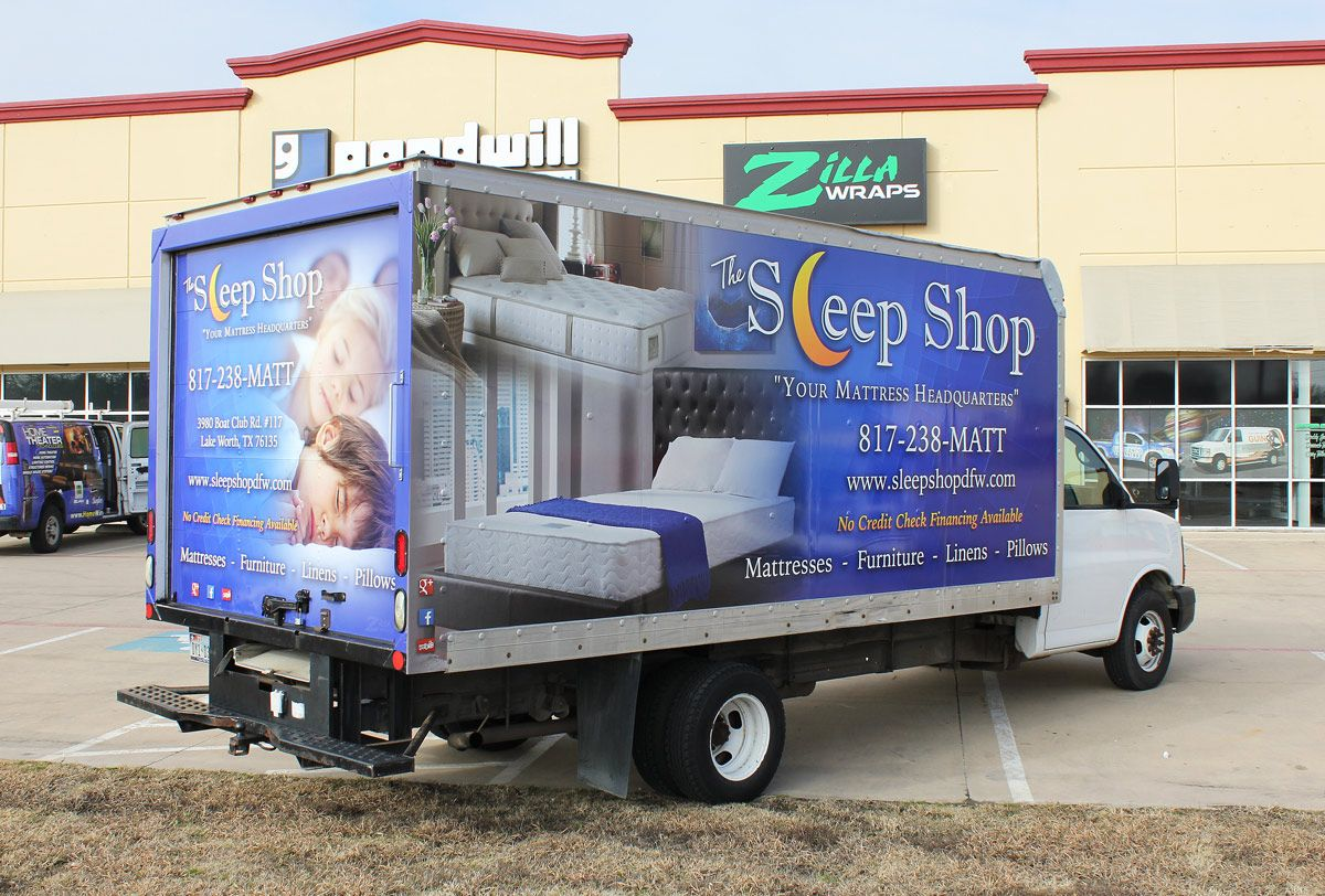 sleep shop box truck wrap one great way to advertise your mattress or furniture store