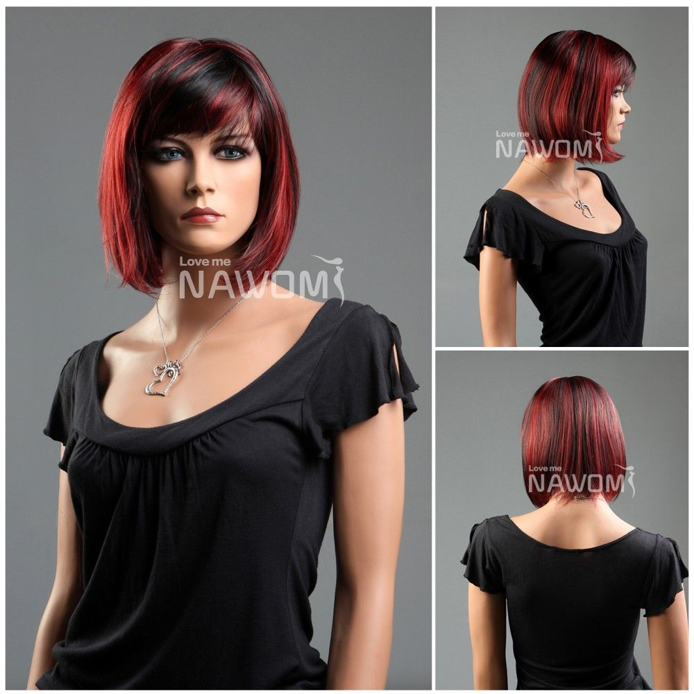 New Fashion Kanekalon Side Swept Bang Black & Red Neck