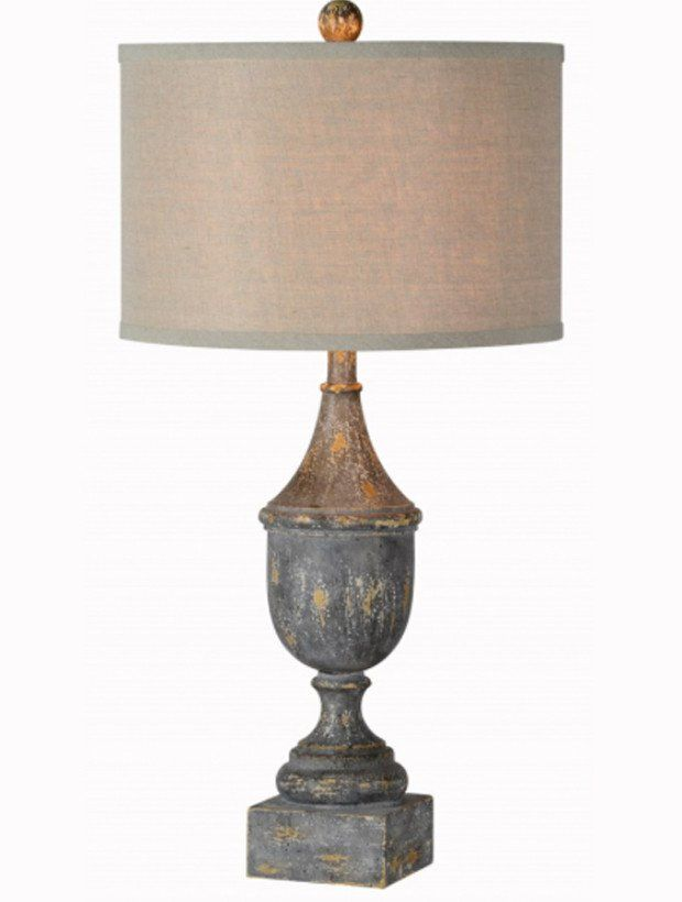 Distressed Table Lamp With Neutral Shade In 2020 Table Lamp Room Lamp Home Decor