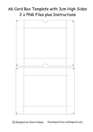 A simple template to make a box for those boxes of notelets etc. Contains 2 png templates plus a sheet of instructions.