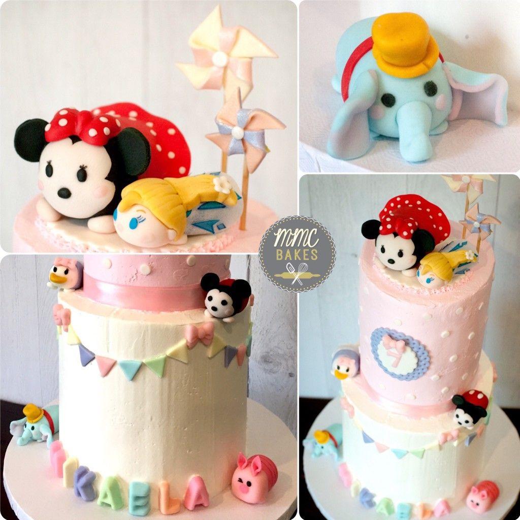 Tsum Tsum buttercream cake with fondant TsumTsum figures mmc bakes