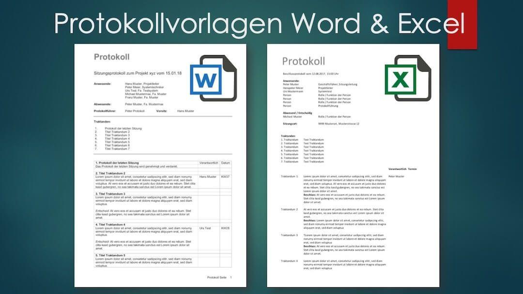 Protokoll Vorlage Fur Word Und Excel Kostenlos Downloaden Vorlagen Kostenlos