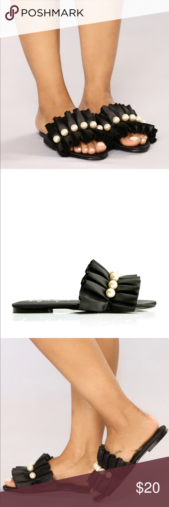 cec7777c8e4 Fashion Nova Satin Slides Black satin slides with faux pearl  embellishments. Brand new