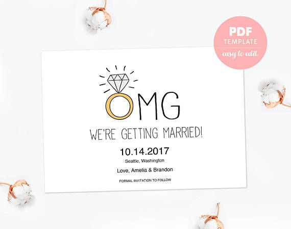 Save the date PDF template card Funny engagement card Editable - engagement card template
