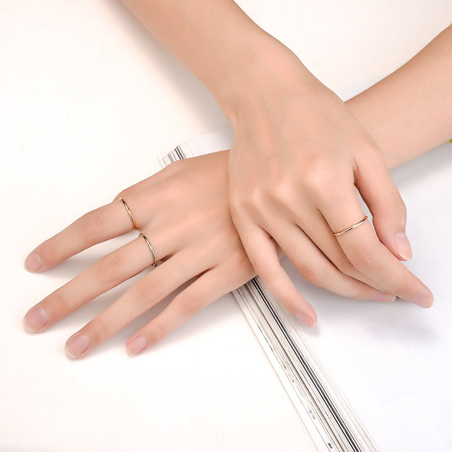 aliveGOT Stainless Steel Stackable Ring Wedding Band High Polish Plain Band Knuckle Stacking Midi Rings