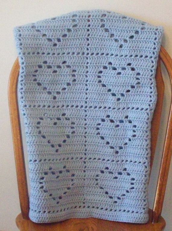 Crocheted Heart Baby Blanket Lapghan Made To Order Blanket