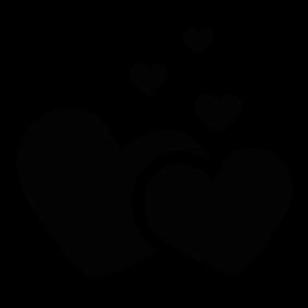 Heart silhouette. Love hearts of shiloette