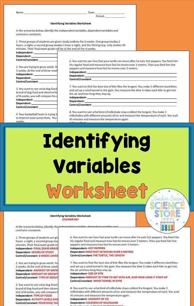 Identifying Variables Worksheet Techinggg Pinterest Science