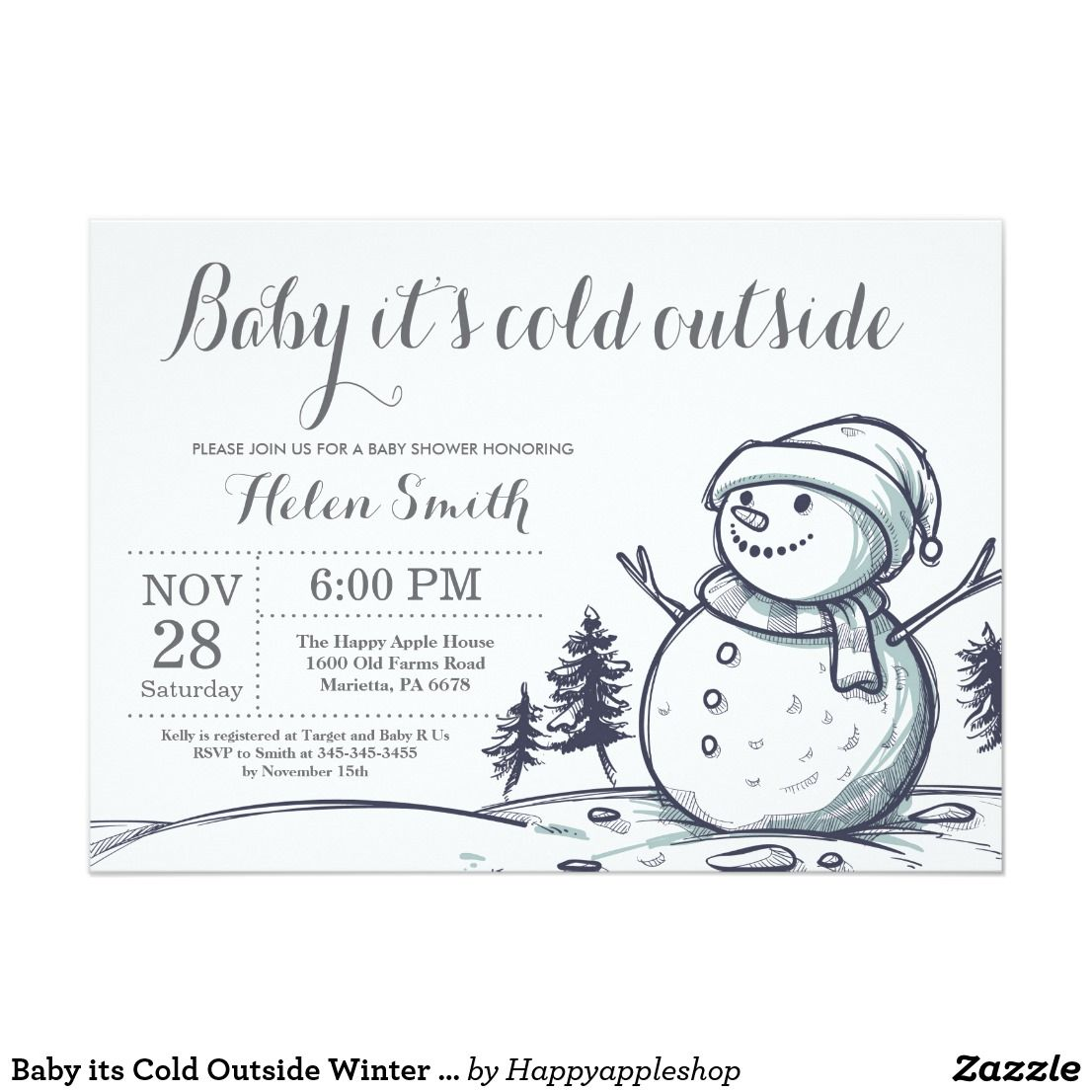 Baby Its Cold Outside Winter Snowman Shower Invitation Boy Or