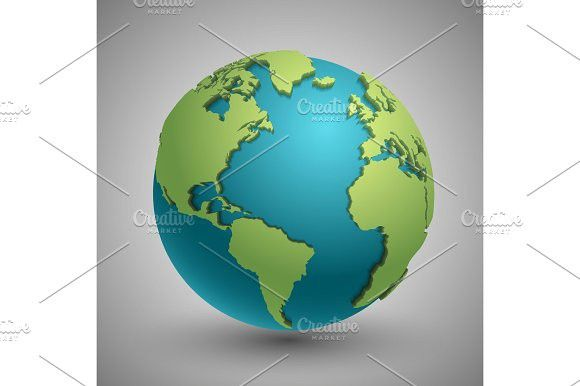 Earth globe with green continents modern 3d world map concept earth globe with green continents modern 3d world map concept gumiabroncs Choice Image