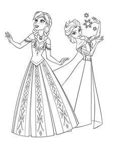Elza I Ana Elsa Coloring Pages Princess Coloring Pages Frozen