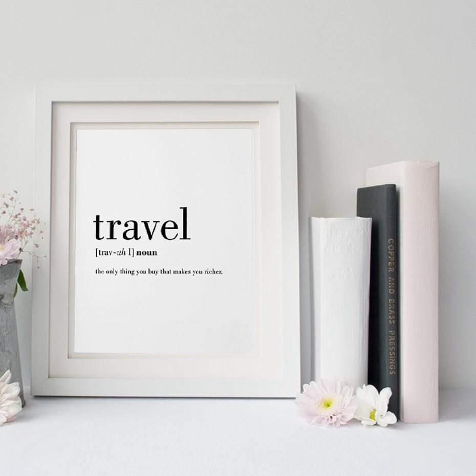 New Definition Of Travel Wonderful Word Art Canvas Wall Poster