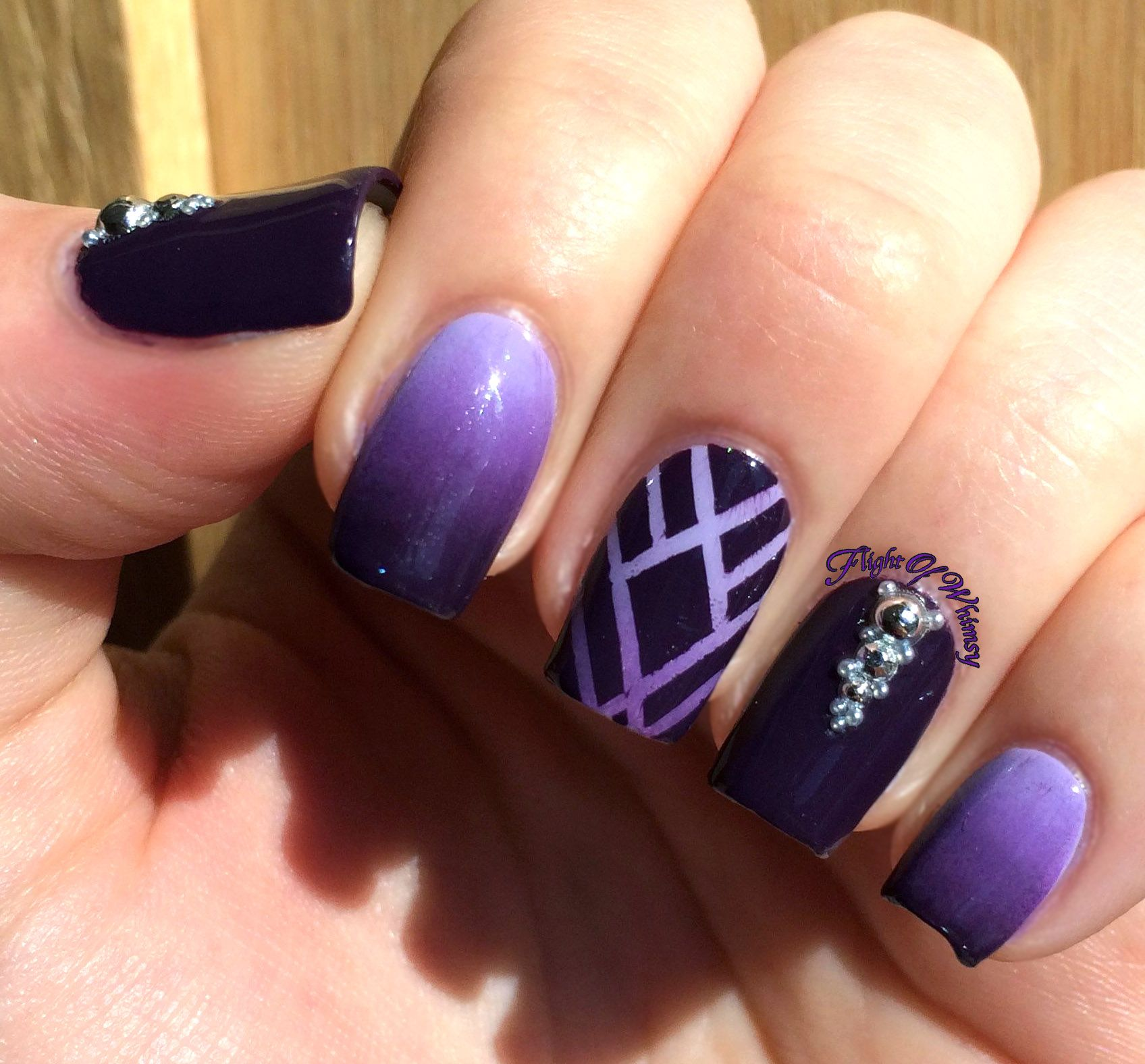 Ombre Purple Into Black Nails With Geometric And Crystal