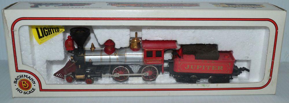 HO Scale Bachmann Powered Jupiter 4-4-0 Steam Engine W/ Tender & Box on