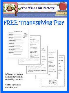Free Thanksgiving Play   Thanksgiving preschool, Classroom freebies