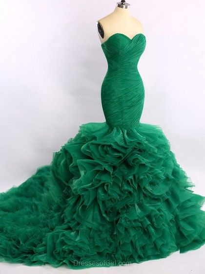 Trumpet/Mermaid Green Organza Court Train Cascading Ruffles ...