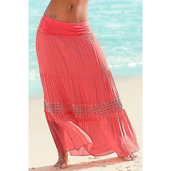 $13.03 Stylish A-Line Spliced Solid Color Beach Skirt For Women