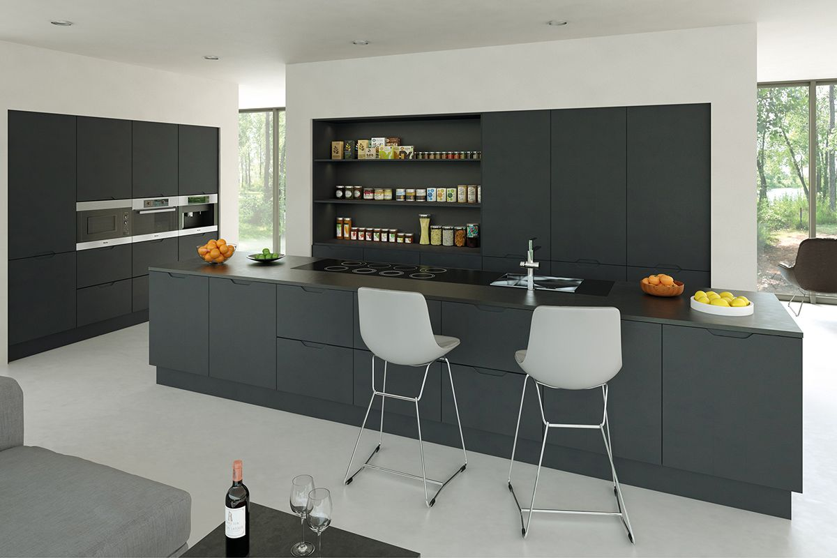 Kitchens Don T Have To Be High Gloss This Design In Matt Graphite Looks So S Handleless Kitchen Replacement Kitchen Cupboard Doors Handleless Kitchen Cabinets