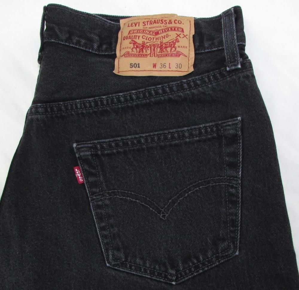 Levis Levi's 501 Jeans Red Tab Black Jeans Straight Leg Button Fly ...