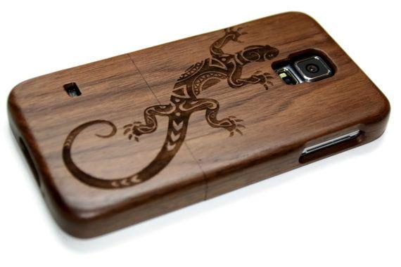 Samsung Galaxy S5 Hulle Holz Hullen Nussbaum Kirsche Oder Bambus Holz Eidechse Samsung Galaxy S5 Holz Samsung