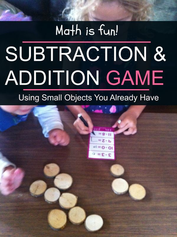 My 4-year old learned about simple subtraction using this playful teaching strategy: Subtraction and Addition game using small objects that you already have.
